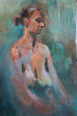 Petr Mucha - studie v malbě - Sedící dívka - 2017 - 90 x 120cm - akryl na papíře