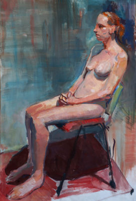 Petr Mucha - study painting - Sitting Young Lady - 2017 - 75 x 90cm - acrylic on paper