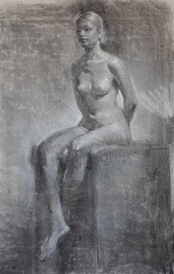 Petr Mucha - studie v kresbě - Sedící dívka s rukama za zády - 2016 - 80 x 95cm - uhel a bílá křída na papíře