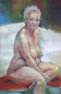 Petr Mucha - studie v barvě - Paní Kratochvílová I - 2011 - 100x130cm - akryl na papíře