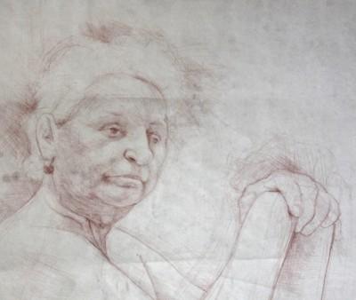 Petr Mucha - studie v kresbě - Paní Kratochvílová - 2012 - 100x130cm - rudka na papíře
