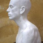 Petr Mucha - studie v plastice - Portrét mladého muže - 2012 - 50 x 40 x 35cm - sádra - Levý profil