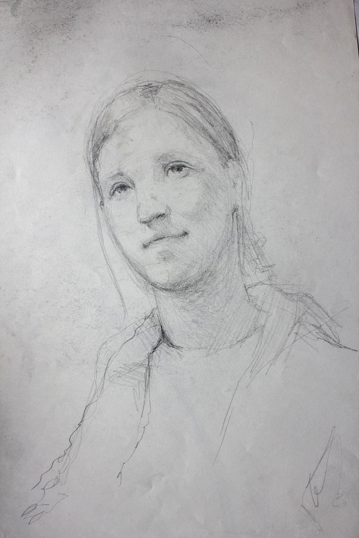 Petr Mucha - study drawing - Portrait of Sister - 2012 - 35x45 cm - pen on paper