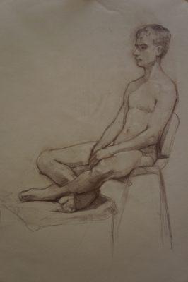 Petr Mucha - večerní kreslení - Sedící chlapec