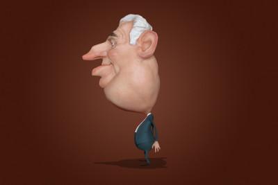 Petr Mucha - karikatura Zeman 3D